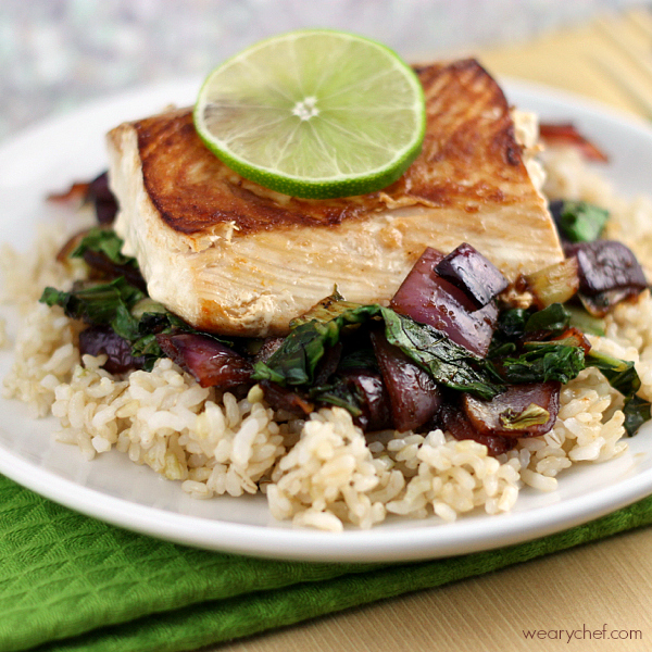 Asian salmon and vegetables over rice ready in under 30 for Rice recipes to go with fish