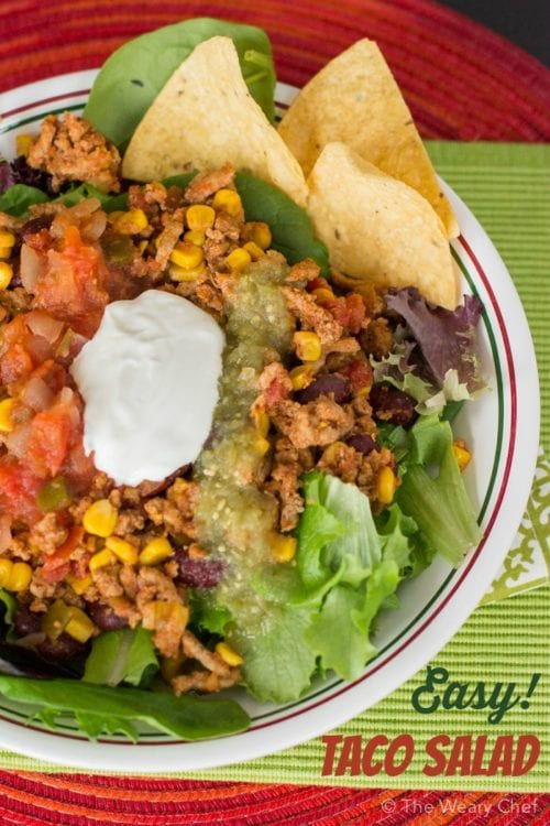 This quick and easy taco salad recipe is perfect for weeknights. The meat is also good for tacos, burritos, or nachos!
