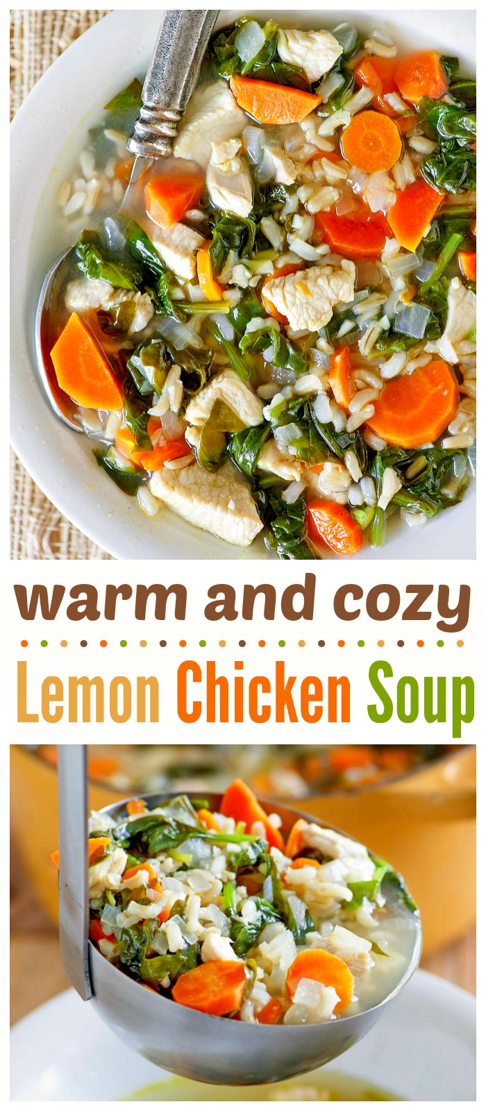 This Lemon Chicken Soup with rice and spinach is light, easy, healthy, and comforting. It will be your go-to dinner recipe on cold days! #lemon #chicken #soup