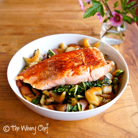 Salmon and Vegetables Rice Bowl - Dinner ready in 25 minutes! by @wearychef