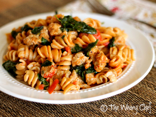Skillet Sausage Pasta with Spinach - Restaurant quality dinner in 30 minutes! | The Weary Chef #pasta
