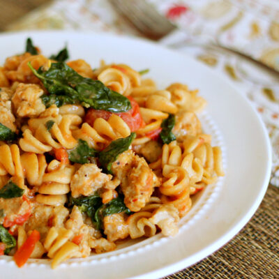 Skillet Sausage Pasta with Spinach