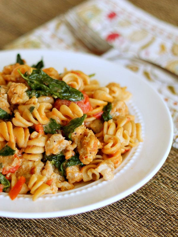 Skillet Sausage Pasta: Make this restaurant-quality dish in under 30 minutes! #easydinner