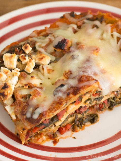 Bake up a pan of this spinach artichoke lasagna for a vegetarian meal you'll love!