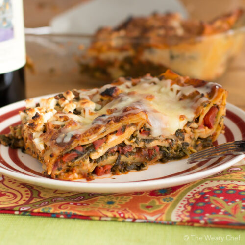 Bake up a pan of this spinach artichoke lasagna for a vegetarian meal ...