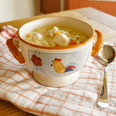 Creamy Chicken and Wild Rice Soup - Satisfying, healthy #soup #recipe by @wearychef