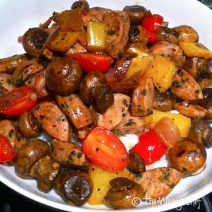 Sausage Stirfry over Rice