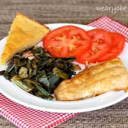Pan Fried Catfish with Perfect Southern Cornbread and Greens