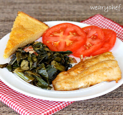 Pan Fried Catfish with Greens