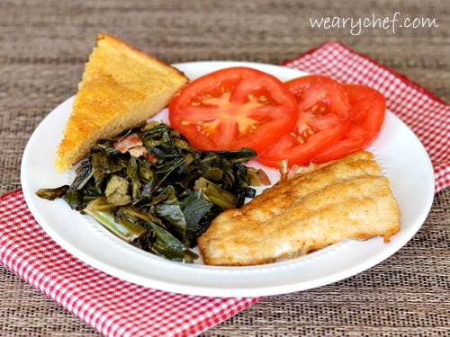 Pan Fried Catfish with Greens and Cornbread - A complete Southern meal! via wearychef.com