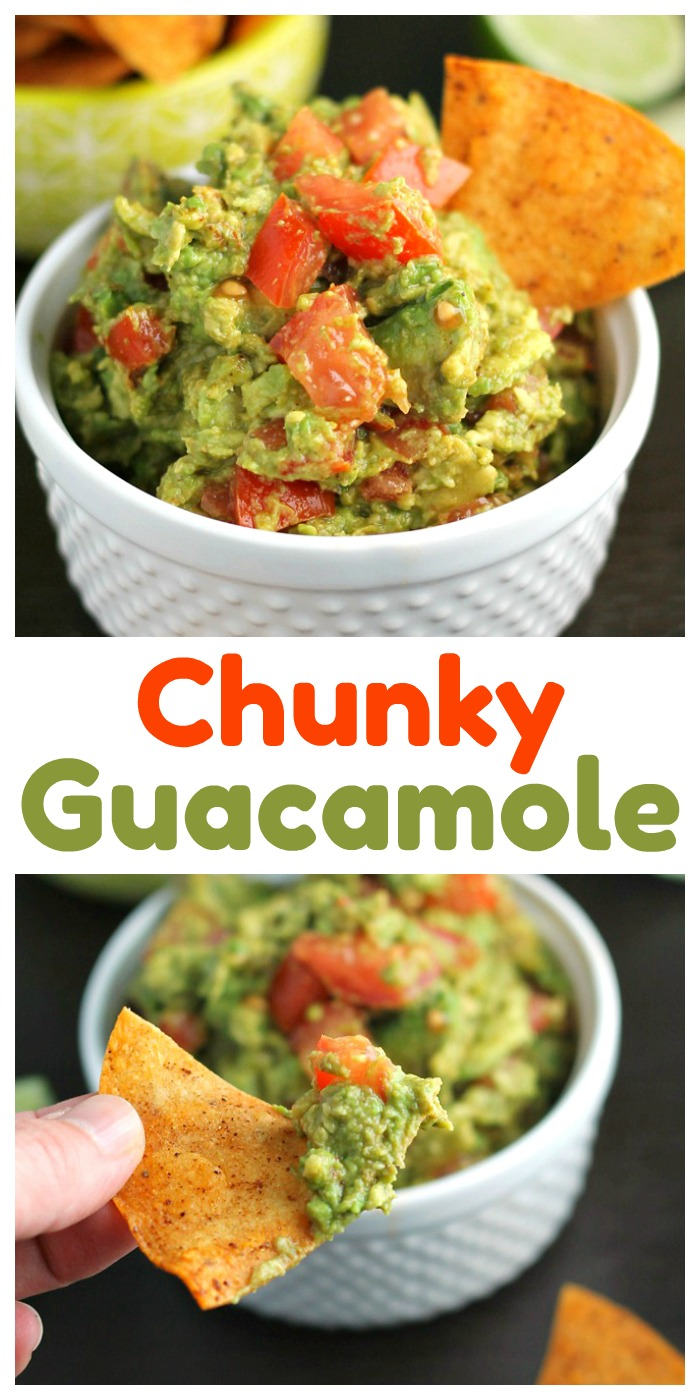 Need a great bowl of dip in a hurry? I've got you covered with this chunky guacamole recipe! #guacamole #dip #appetizer #avocado