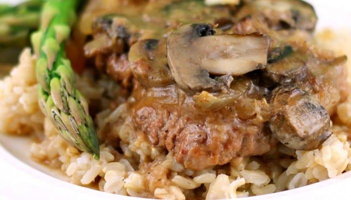 Fork Tender Cube Steaks in Mushroom Gravy