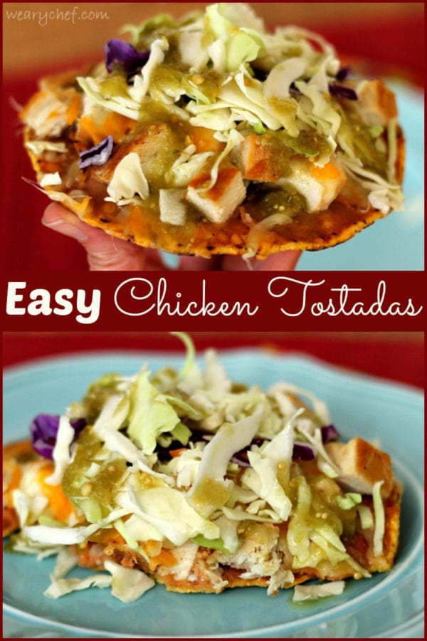 Easy chicken tostadas a fun taco alternative the weary chef easy chicken tostadas this simple dinner is quick to make but makes for a fun forumfinder Image collections