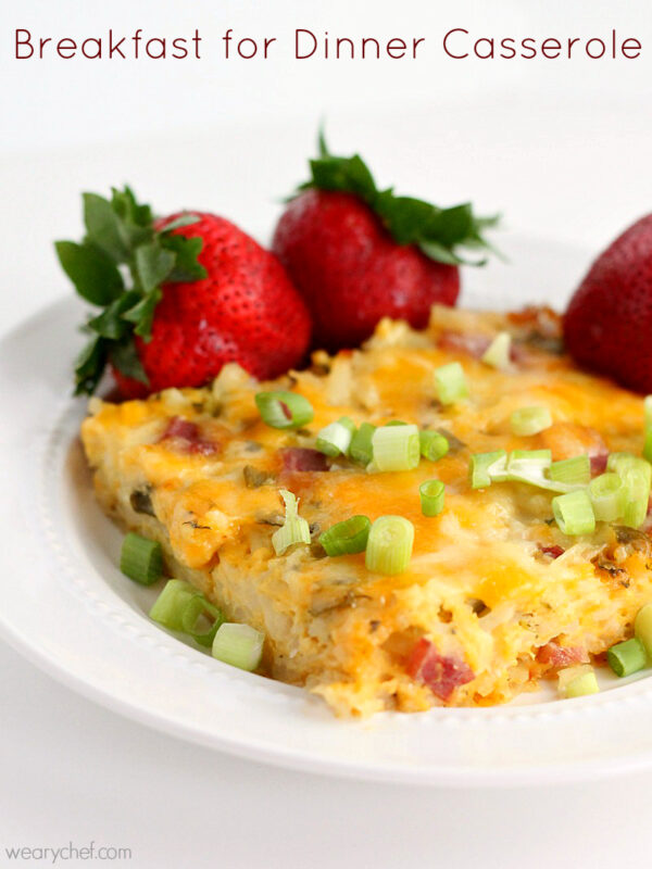 Breakfast for Dinner Casserole: This easy hashbrown casserole is just right for any time of day!