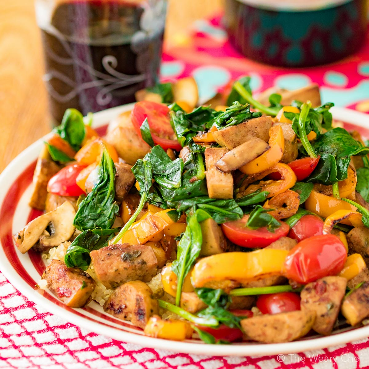 Sausage stir fry is a quick and easy way to get dinner on the table in a hurry!