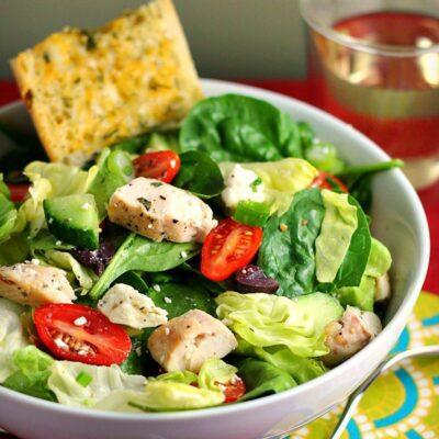 Classic Greek Salad Recipe with Chicken