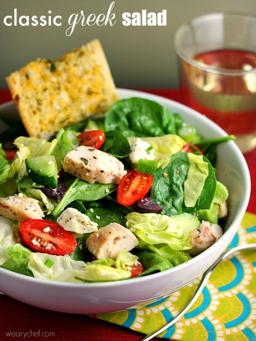 Classic Greek Salad with Chicken - wearychef.com