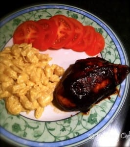 mac and bbq chicken