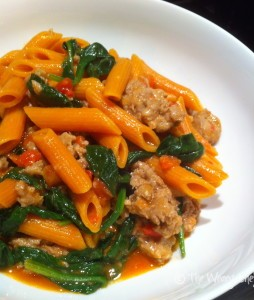 Skillet Sausage Pasta with Spinach - One dish cooking, ready in 20 minutes!