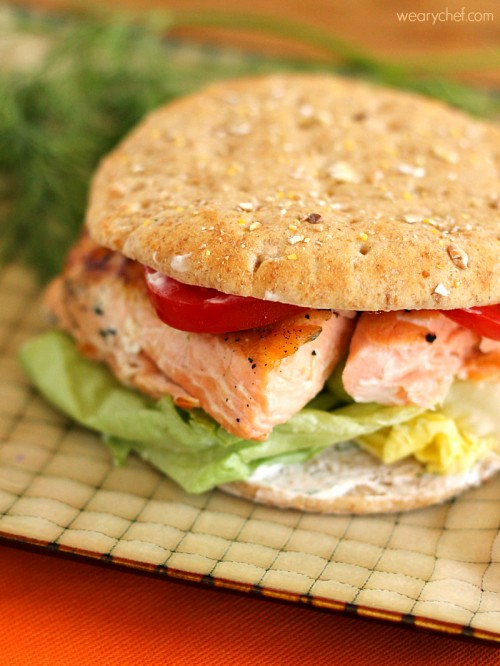 Salmon Sandwich with Spicy Dill Yogurt Sauce - A 20-minute meal just right for busy nights! - wearychef.com