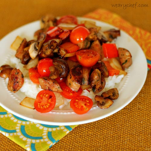 Sausage Stir Fry over Rice