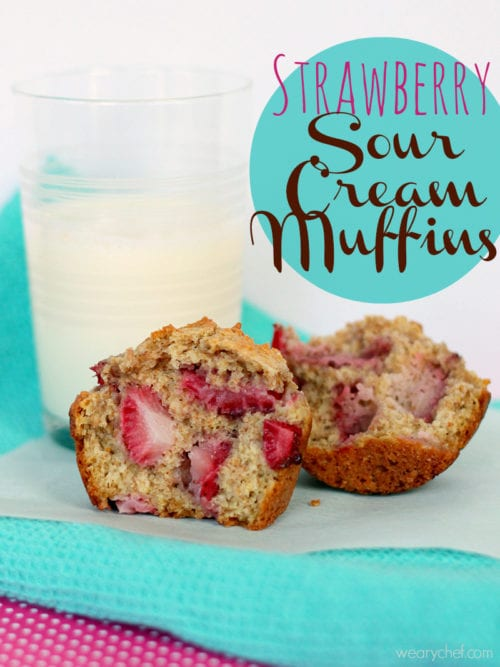 Strawberry Sour Cream Muffins - A healthy, delicious way to start your day! #strawberry #muffins