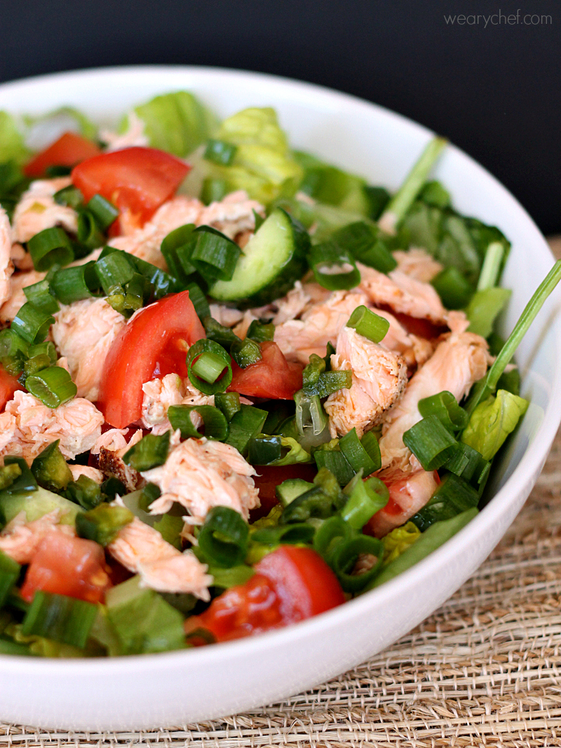 Thai Salmon Salad with Oil Free Dressing - The Weary Chef
