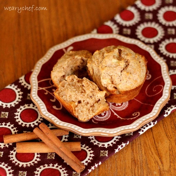 Apple Cinnamon Sour Cream Muffins - These moist, low sugar muffins are a healthy, delicious start to your day!
