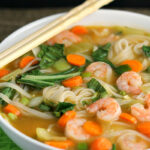 Asian Rice Noodle Soup with Shrimp
