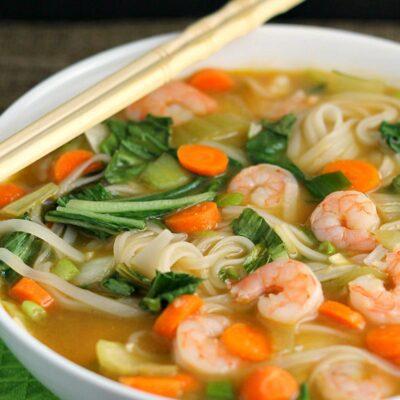 Asian Rice Noodle Soup with Shrimp