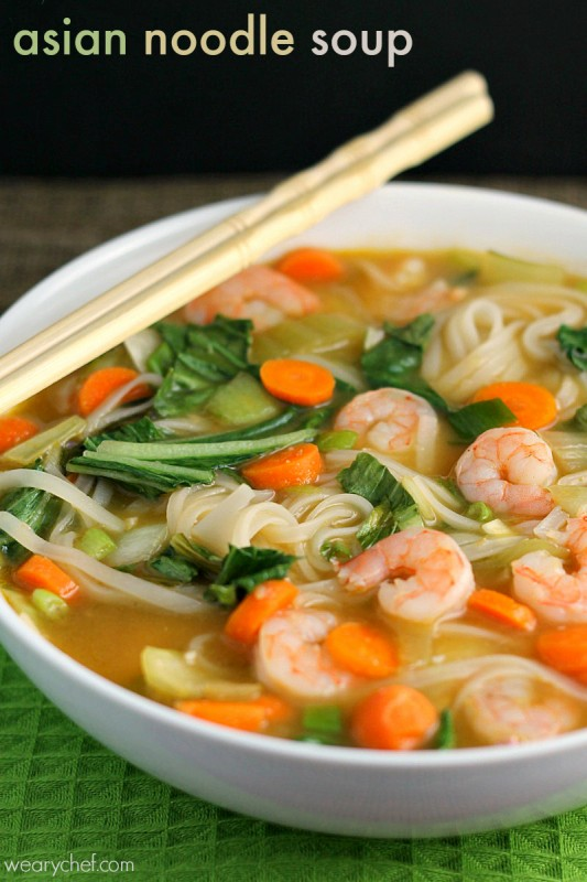 Weeknight Noodle, Vegetable And Shrimp Soup Recipe — Dishmaps