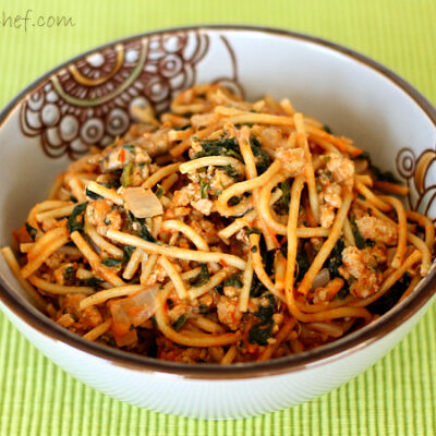 Creamy Turkey Spaghetti with Spinach