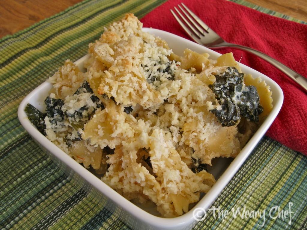 White Kale and Chicken Pasta Casserole