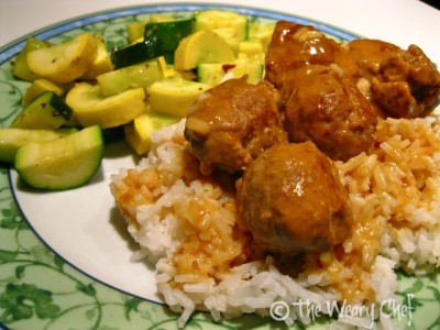 Easy Meatballs and Gravy over Rice with Broiled Squash