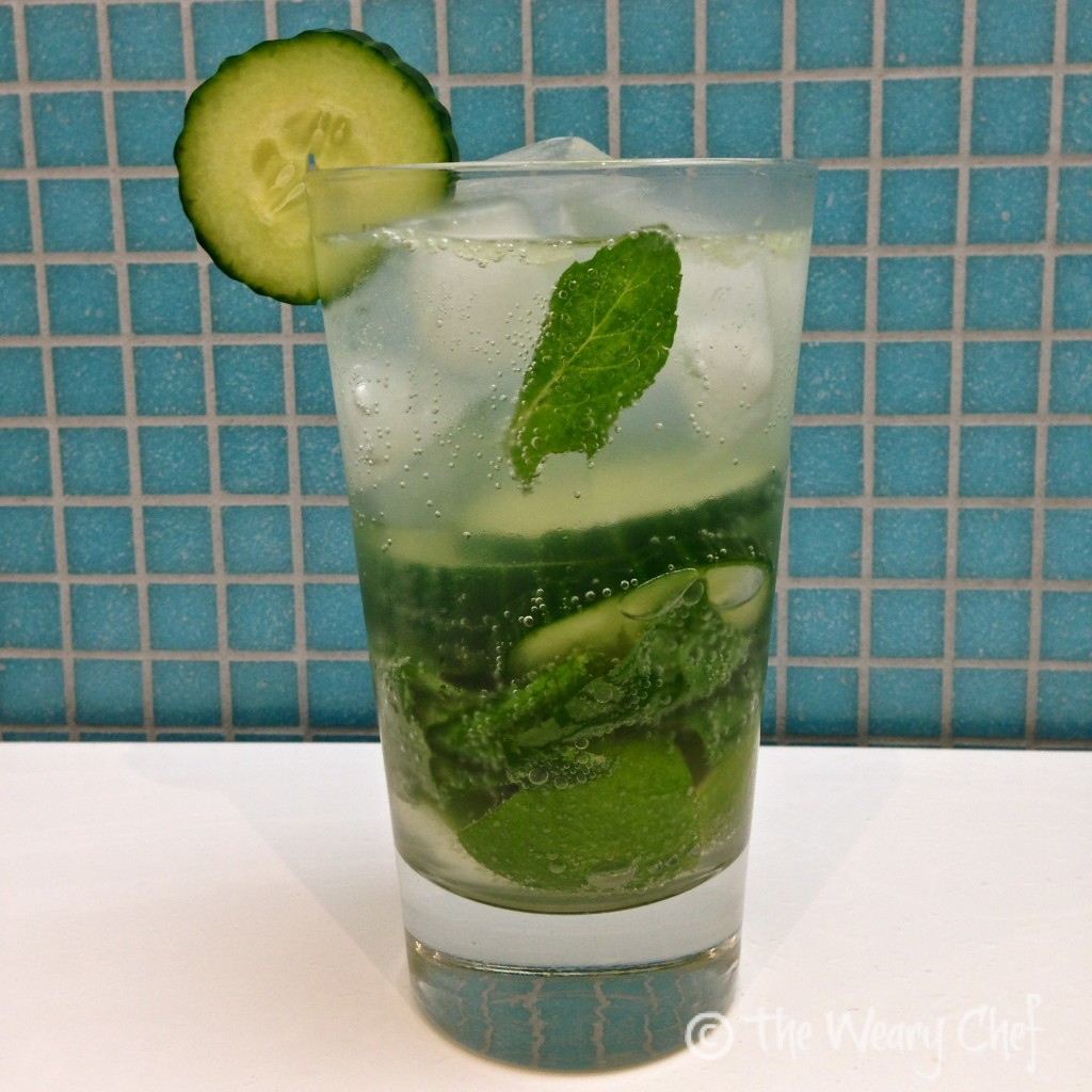 Green Quencher Cocktail - Basil, Mint, Lime, and Cucumber. So delicate and refreshing!