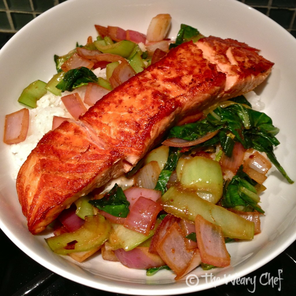 Salmon and Bok Choy over Rice