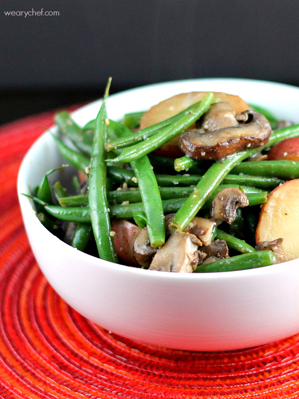 Garlic Green Beans with Mushrooms and Potatoes