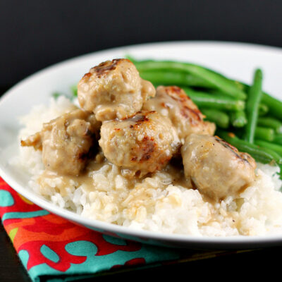 Easiest Ever Meatballs and Gravy over Rice