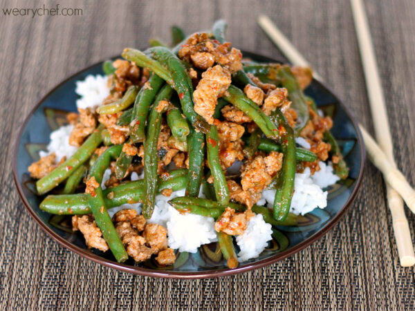 Chinese Green Beans with Ground Turkey over Rice #healthy #dinner