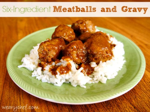 Six-Ingredient Meatballs and Gravy (including the rice!)