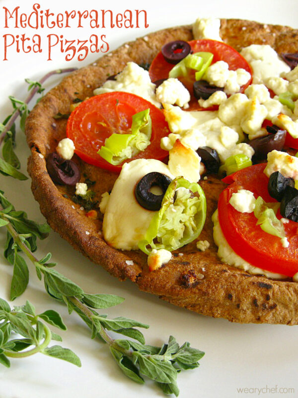 Mediterranean Pita Pizzas - Dinner doesn't get much easier than this!