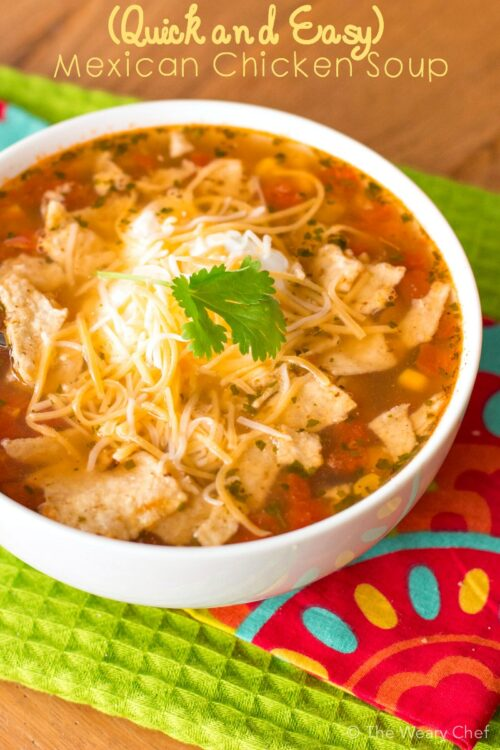 This Mexican chicken soup recipe could literally be made in 10 minutes if you have diced, cooked chicken on hand! It's a perfectly quick and tasty weeknight dinner.