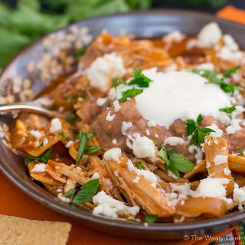 Chilaquiles are like a delicious cross between nachos and enchiladas. You'll want to try this super easy version with chicken!