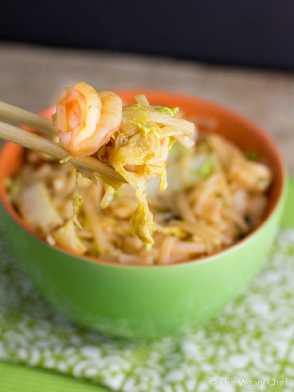 Spicy rice noodle recipe with shrimp and cabbage this flavorful rice noodle recipe with shrimp and cabbage is a very easy healthy dinner forumfinder Choice Image
