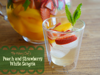 Peach and Strawberry White Sangria - Simple, easy, perfect summer drink! by @wearychef #sangria #wine #cocktail