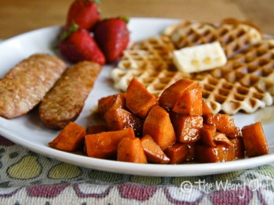 Glazed Sweet Potatoes with Waffles and Sausage: #breakfast for #dinner by @wearychef