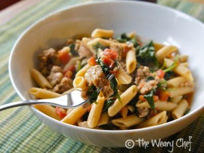 Skillet Sausage Pasta with Spinach - It's hard to believe such a delicious dish could be so quick and easy!