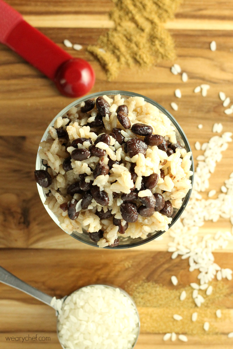 Pair simple black beans and rice with any meat for a perfect side dish.