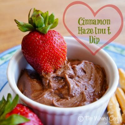 Cinnamon Hazelnut Dip | Perfect for dipping fruit, pretzels, or cookies #nutella #dip @wearychef