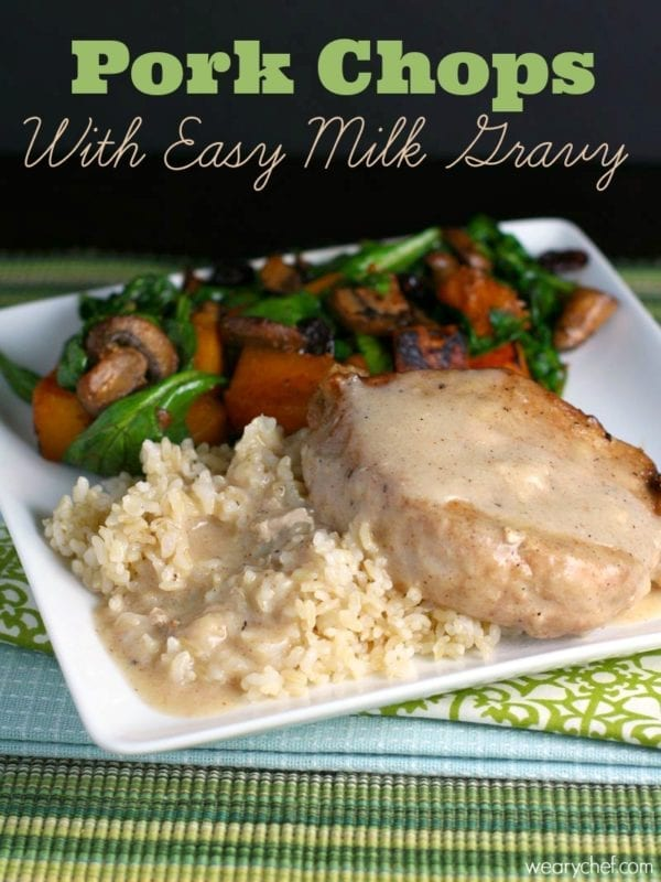 These one-pan pork chops are very easy to make.  The easy milk gravy does not even require making a roux!  Serve this 30-minute dinner over rice with a vegetable on the side.